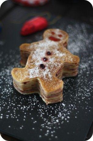 Gingerbread pancakes.  Here they are crepes. Bonhomme en Crêpes et Gelée de Mûres