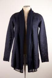 Expresso blauw vest Pepita shawlkraag