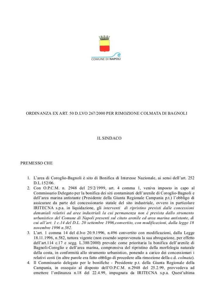 ordinanza sindacale bagnoli