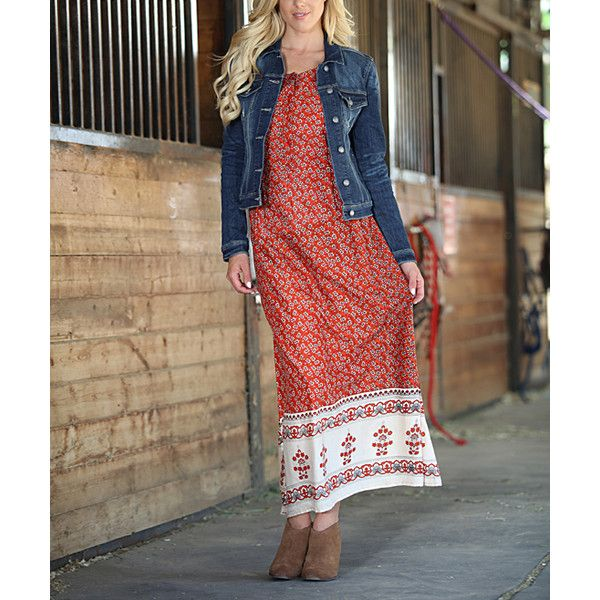 Ananda's Collection Rust Floral Side-Pocket Maxi Dress (110865 PYG) ❤ liked on Polyvore featuring dresses, plus size, long maxi dresses, boho floral dress, boho maxi dress, bohemian maxi dress and bohemian dresses