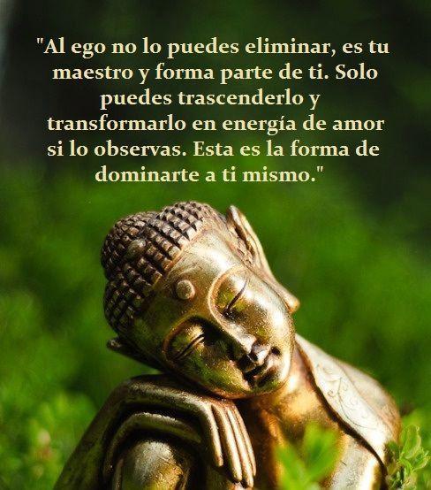 ... Al ego no lo puedes eliminar, es tu maestro y forma parte de ti. Sólo puedes trascenderlo y transformarlo en energía de amor si lo observas. Está es la forma de dominarte a ti mismo.