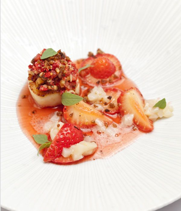 Scallops, Sweet Eve strawberries and balsamic recipe - Dave Watts proves that summer berries are not just for desserts in this spectacular scallops with strawberries recipe. The colourful dish features an interplay of sweet and sharp flavours - like aged balsamic, tangy lemon and aromatic basil - with a scallop tartare adding a mild taste of the sea.