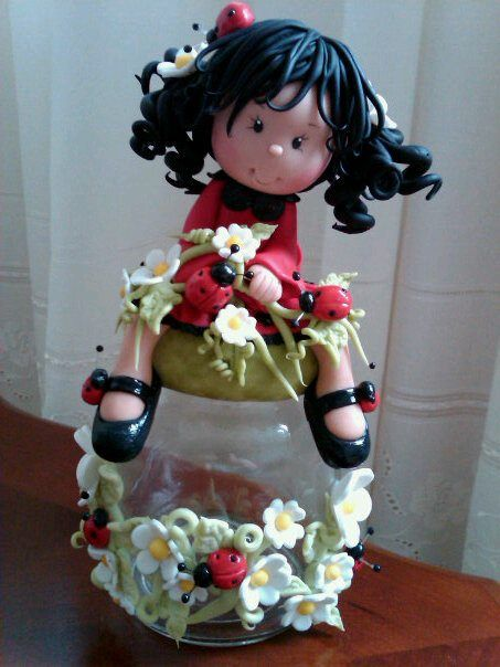 porcelana fria polymer clay...such an adorable little girl doll (photo) (cookie jar)