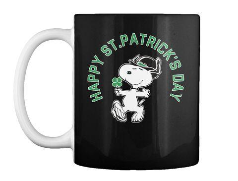 Snoopy St. Patrick's Mugs, Snoopy Mugs Black Mug Front