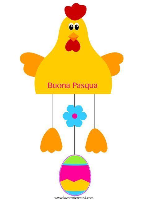 ADDOBBI DI PASQUA CON LA CARTA Sagome utili per realizzare una gallina con l'uovo da attaccare alle porte o ai vetri delle finestre di scuola nel periodo di Pasqua.