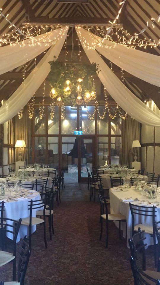 Fab shot by Bix Manor of our fairy lights, drapes and Edison cartwheel chandeliers #wedding #bixmanor #lighting
