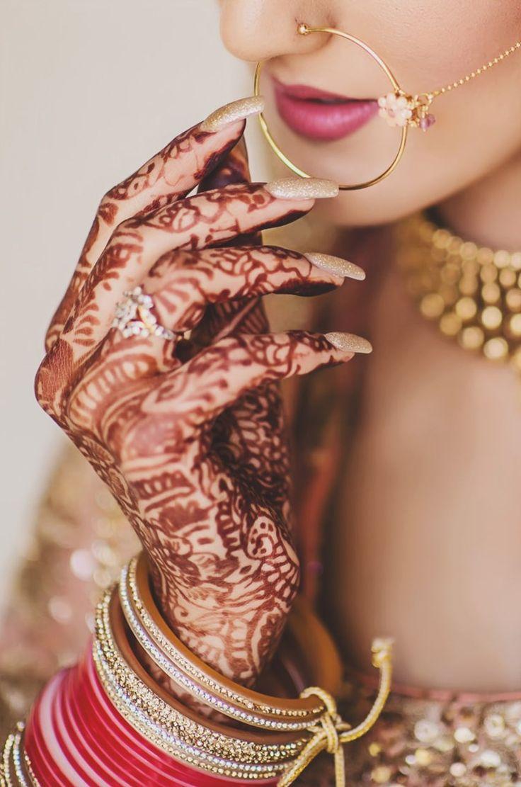 mehndi + choodas + nosering for a punjabi bride