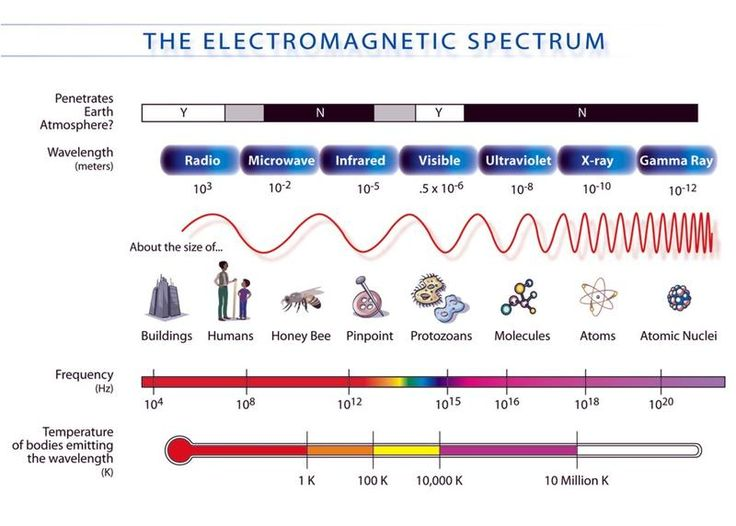 Different kinds of electromagnetic radiation differ in wavelength and this results in a spectrum. Description from extension.org. I searched for this on bing.com/images