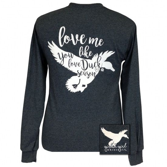 Details: Love me like you love duck season! This comfortable, classic fit tee is pre-shrunk, 50% cotton/ 50% polyester.