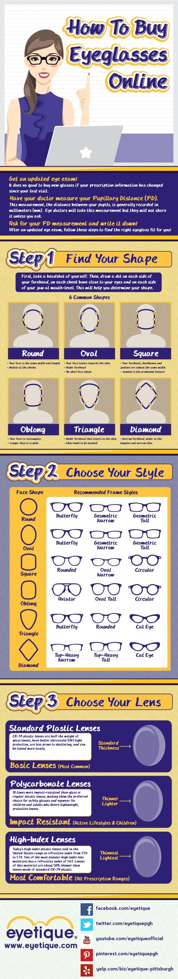 How to buy eyeglasses online - You can find some of the best eyewear savings and style availability online. Here are a few guidelines for helping anyone order the right eyeglasses online. For more info http://www.eyetique.com/blogeyetique/infographic-how-to-buy-eyeglasses-online