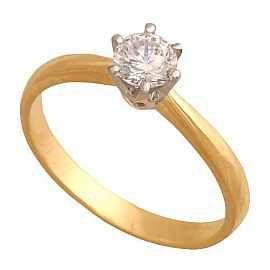Klasyczny pierścionek zaręczynowy z cyrkonią o średnicy 4mm osadzoną w sześciu białych łapkach.
