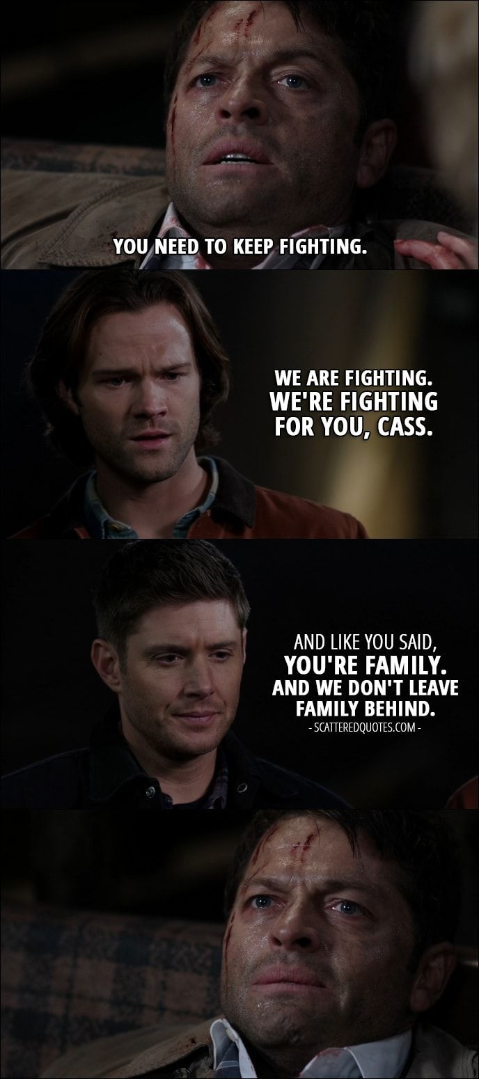 Quote from Supernatural 12x12 │  Castiel: You need to keep fighting. Sam Winchester: We are fighting. We're fighting for you, Cass. Dean Winchester: And like you said, you're family. And we don't leave family behind.