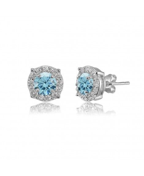 7fa4137fc406ba Sterling Silver 5mm Round Halo Fancy Stud Earrings created with Swarovski  Crystals - March - Light Blue
