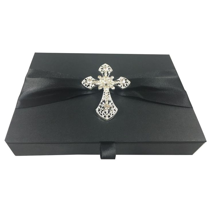 Black Condolence Ceremony Invitation Box – Christian Funeral Invitations
