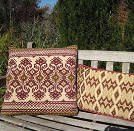 Two Kilim patterns in the cross-point TM collection for stitching (KILIM II, and MOROCCO)