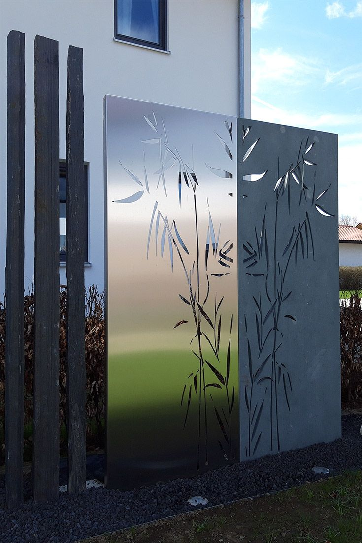 Sichtschutz Aus Stein Und Edelstahl Gartensichtschutz Sichtschutz Stein Sichtschutzwand Garten