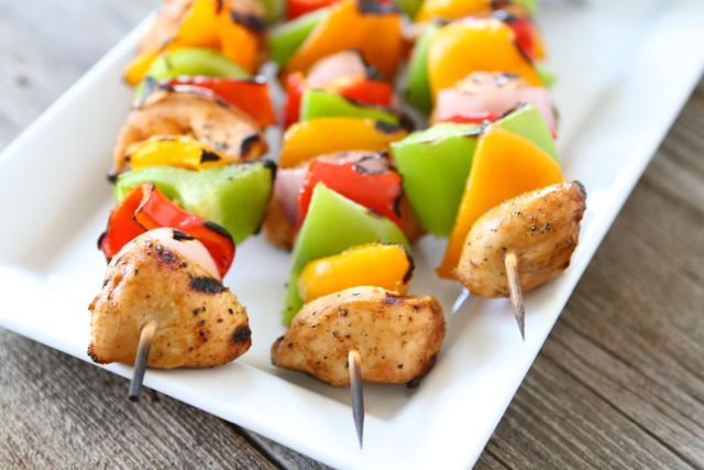 Grilled Chicken Fajita Kabobs from Two Peas and Their Pod For the Fajita Marinade:  2 tablespoons olive oil 1 tablespoon fresh lime juice 2 teaspoons chili powder 2 teaspoons cumin 1/2 teaspoon garlic powder 1/2 teaspoon dried oregano 1/4 teaspoon salt 1/4 teaspoon ground black pepper 1/4 teaspoon crushed red pepper flakes