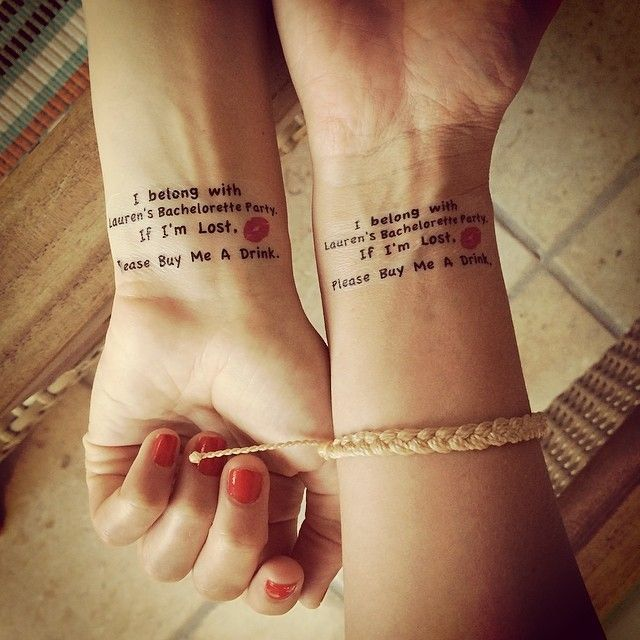 Get little wash off tattoos for the bachelorette party! This is a great Idea for any bachelorette party thats at a night club, Lounge, or bar !!!!