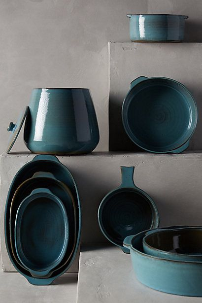#Kitchens can be so sterile. Add visual interest with colored accessories like this Glazed Terracotta Bakeware from Anthropologie.