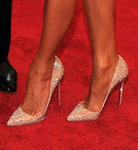 Christian Louboutin crystal stilettos. More fashion, beauty, bridal and…