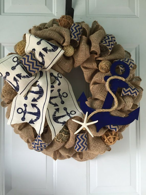 Nautical Anchor Wreath Rustic Burlap Coastal by wreathsplusbylyn