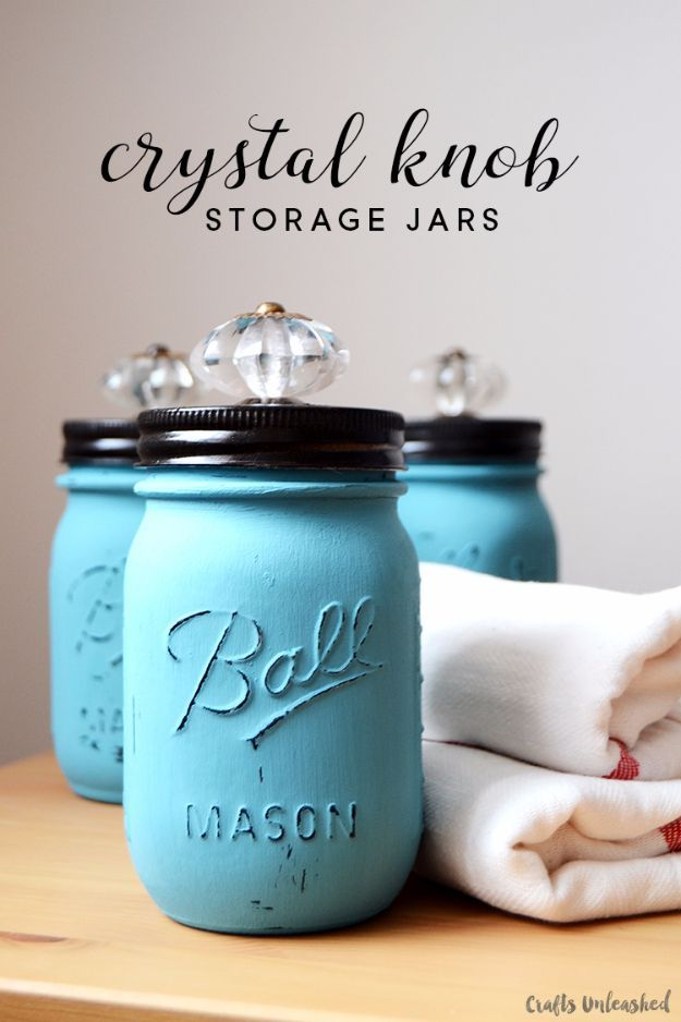37 Quickest DIY Gifts You Can Make - Crystal Knob Storage Jars - Easy and Quick Last Minute DIY Gift Ideas for Mom, Dad, Him or Her, Freinds, Teens, Kids, Girls and Boys. Fast Crafts and Fun Ideas in A Jar, Birthday Presents - Step by Step Tutorials http://diyjoy.com/quick-diy-gifts