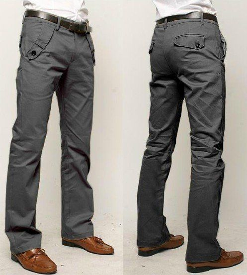 sometimes it's nice to see a guy wear something other than jeans. Here are some straight leg slim fit casual men's trousers. I really like how they fit the body just enough, and the dark gray color gives it a more sophisticated look.