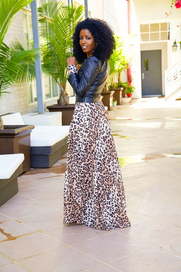 Leather Jacket with Leopard Maxi Dress!!!  HOT!