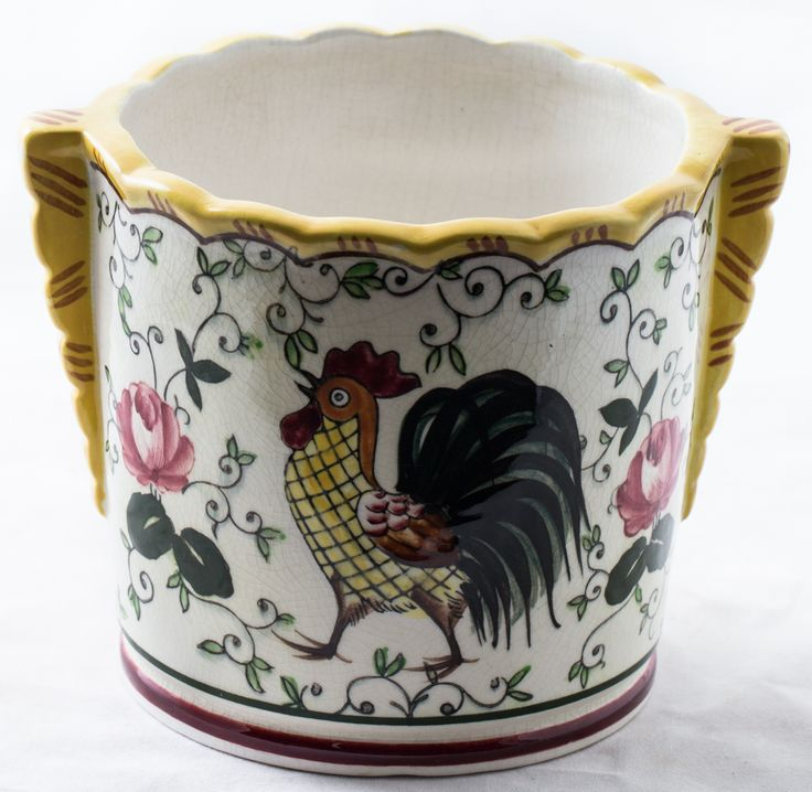 Vintage Japan Ucagco PY Early Provincial Rooster & Roses