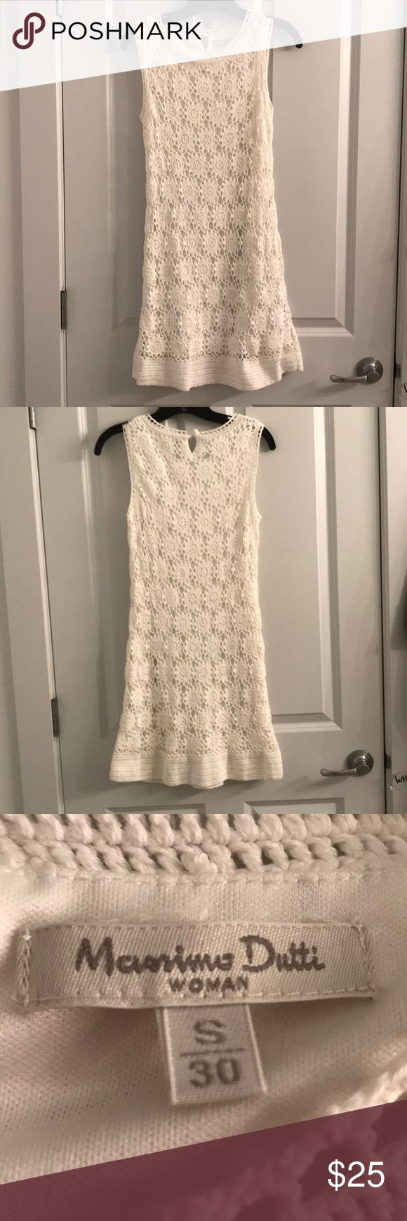 Crochet Sheath Dress Lovely summer sheath dress in white crochet with white lining. No defects, great condition, i just don't wear it! Massimo Dutti Dresses