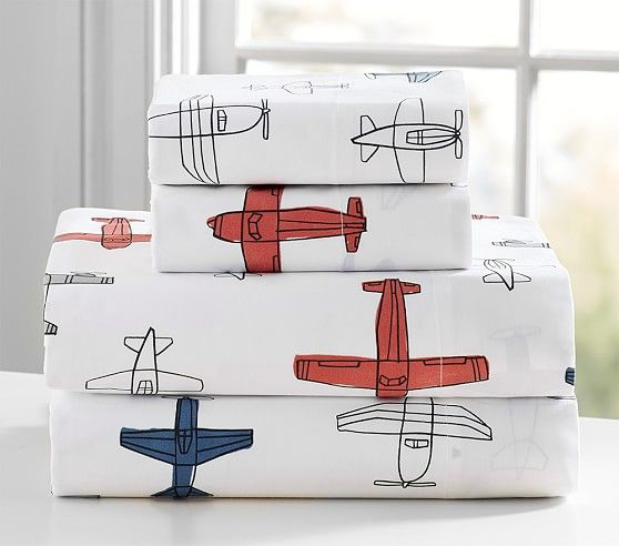 Organic Braden Planes Toddler Sheet Set | Pottery Barn Kids
