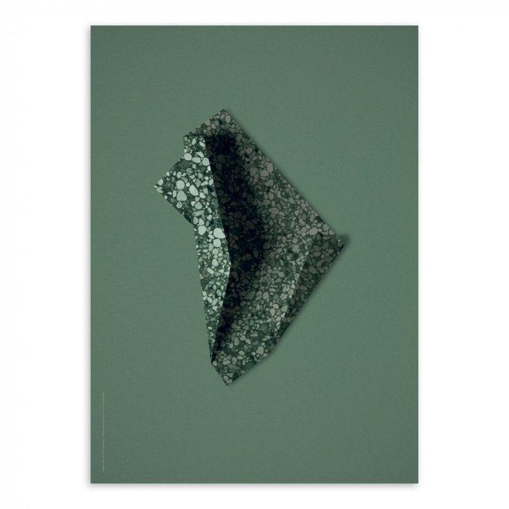 Terrazzo Paper 03 Green Affisch | Paper Collective | Länna Möbler | Handla online