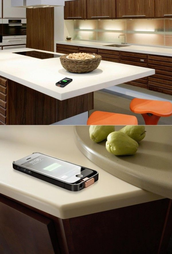 Wireless charging points has become the ideal now that we find it more and more impossible to live without an array of mobile gadgetry, and this Corian worktop has been designed with that in mind. Teaming up with the PMA (Power Matters Alliance), DuPont building innovations aims to embed such charging solutions into solid Corian surfaces, used in home and office spaces.