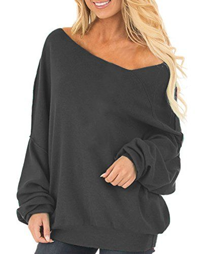 48b51028a98b2 Ruby Rd. Womens Off The Shoulder Tops Baggy Shirt Long Sleeve Blouse  Oversized Sweater Jumper Pullover