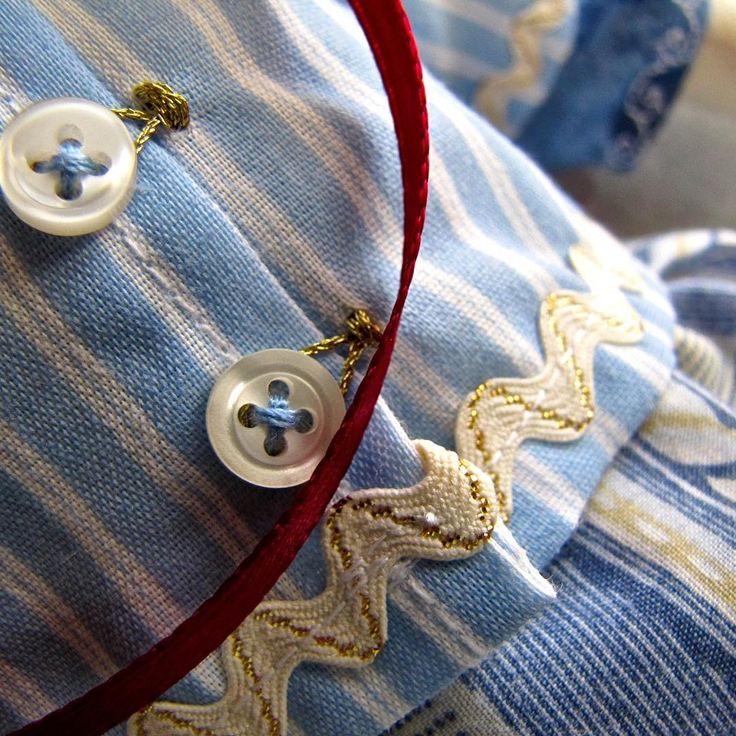 Fine details on handmade dress. vintage buttons.