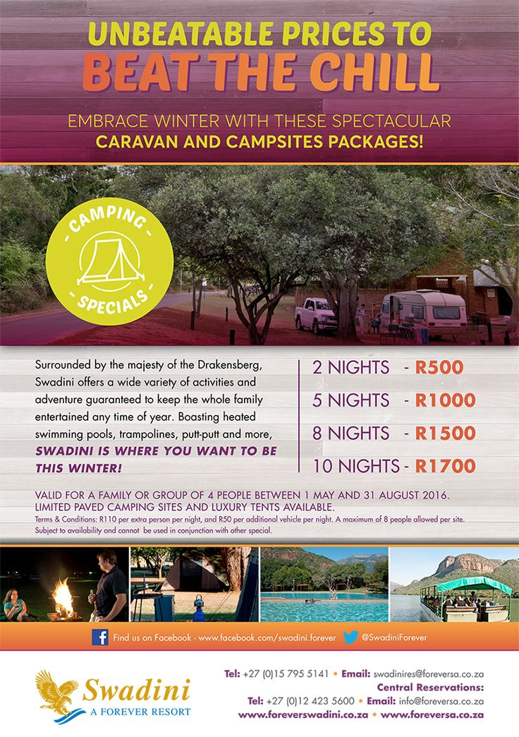 Greetings Swadini Fans, don't forget to check out our amazing winter specials at Swadini, a Forever Resort! Camp for as little as R500 for 2 nights! Take the chill out of winter and book today to secure your cosy winter breakaway. T's & C's apply, offer valid until 31 August 2016. Call us on 015 795 5141 or email swadini@foreversa.co.za have a great day, Team ‪‎Swadini‬