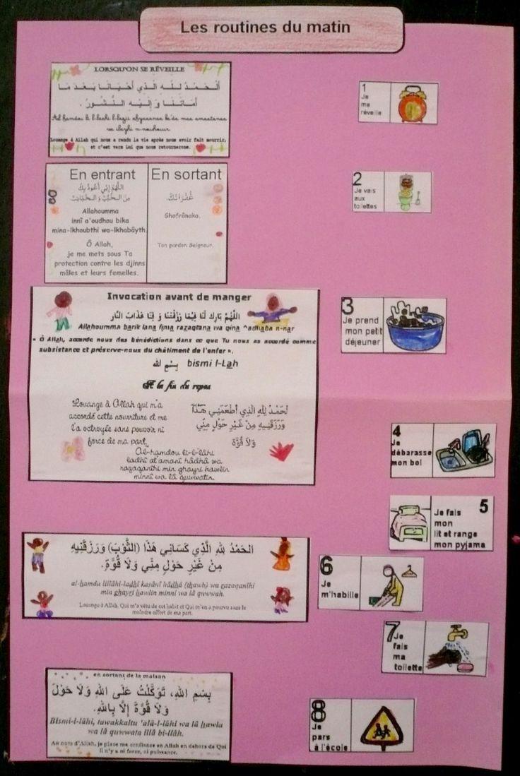 Assalamaleykoum, je partage avec vous un document qui rendra incha'Allahvosmatins plus agréable. Il s'agit d'une routine visuelle,incorporant les invocations à dire et à appendre dans chaque cas...