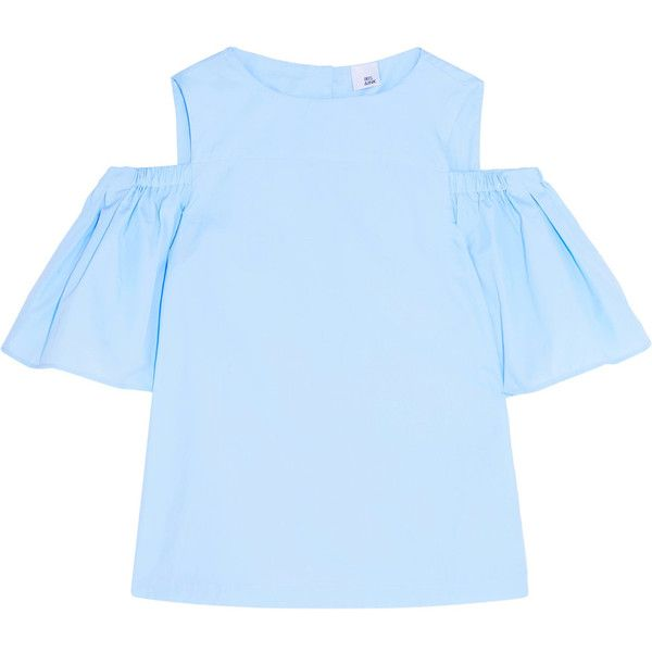 Iris and Ink Clarissa off-the-shoulder stretch-cotton twill top ($110) ❤ liked on Polyvore featuring tops, sky blue, boxy tops, flared sleeve top, blue off shoulder top, sky blue top and loose fitting tops