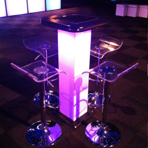 Mirrored insert topped, internally lit poseur table with ice bar stools Contemporary Furniture Club Starlight Design