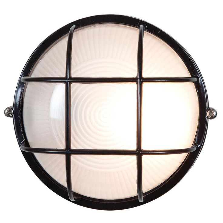 Nauticus Round Outdoor Bulkhead Wall / Ceiling Light features Frosted Glass with a Black, Satin, or White finish. Three lamping options and two sizes available. LED: One 9 watt 120 volt replaceable A19 medium base LED bulb is included. INC: One 60/100 watt max 120 volt medium base bulb is required, but not included. CFL: One 13/18 watt 120 volt GU24 base compact fluorescent bulb is included. Small: 7 inch width x 7 inch height x 4 inch depth. Large: 9.5 inch width x 9.5 inch h...
