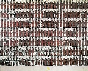 Andy Warhol, 210 Coca-Cola flessen, 1962, zeefdrukinkt en synthetische polymeerverf op doek, 210 x 270 cm. Collectie Martin en Janet Blinder