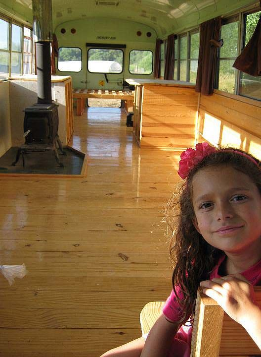 School bus converted to house