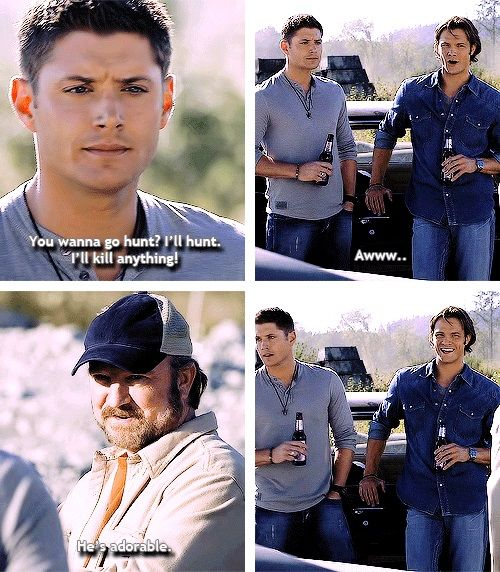"(gif set) ""Can we talk about Sam's face in the last gif? When is the last time he smiled that honestly? And it's all because Bobby says Dean is adorable, and Sam just breaks out in this unabashed grin and look at how happy everyone is in this moment, okay?! Why don't we have moments like this anymore?!"" ""Because Bobby died."" ""GO SIT IN THE CORNER."" 