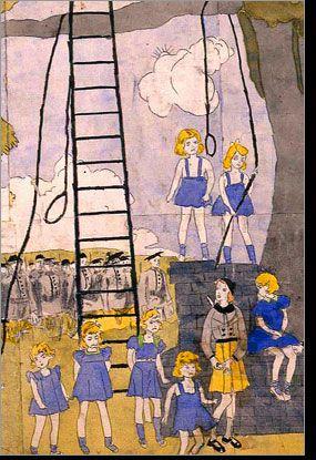 """Henry Darger (Man sieht eine Leiter, aber es ist leider keine Himmelsleiter, sondern eine """"Galgenleiter"""". Wer soll gehängt werden?)"""