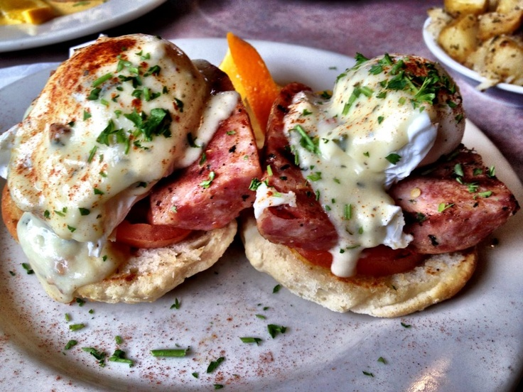 The EggSaints 33: Grilled biscuit, alligator sausage, grilled tomato, poached eggs at Russell's/8555 Pontchartrain Boulevard  /New Orleans/(504) 282-9980 #Food #NOLA #Breakfast #BrunchBreakfast Brunches, Russell'S S 8555 Pontchartrain, Alligators Sausage, Food Nola, Eggsaint 33, Grilled, Culinary Southern Food, Eggcel Recipe, 282 9980 Food