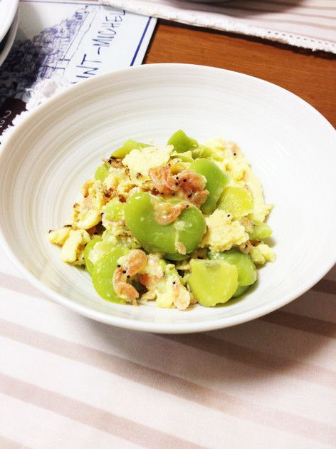 そら豆と桜えびの卵とじ by A〜YA [クックパッド] 簡単おいしいみんなのレシピが233万品