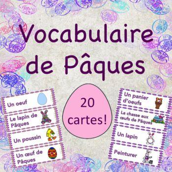 Vocabulaire de Pâques - 20 cartes pour ton mur de mots!