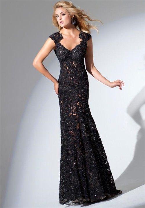 Trumpet Mermaid Sweetheart Cap Sleeve Open Back Long Black Lace Beaded Evening Prom Dress