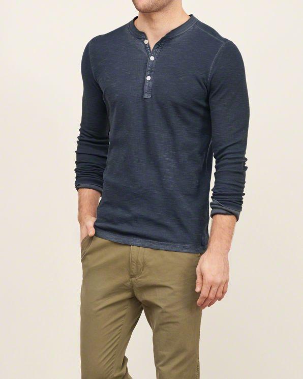 Abercrombie Mens Garment Dye Slub Henley