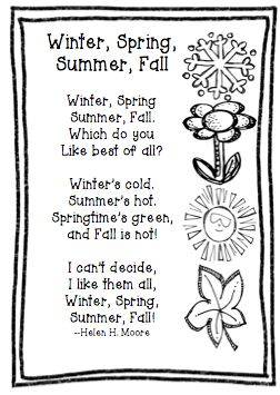 The Very Busy Classroom: Freebie Friday: Poem Winter, Spring, Summer, Fall